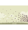 flying butterflies on a green landscape vector image vector image