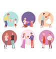 giving gifts family presenting surprise for kids vector image vector image
