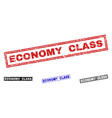 grunge economy class scratched rectangle vector image vector image
