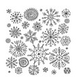 hand drawn snowflakes collection for your design vector image vector image