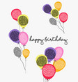 happy birthday party balloon greeting card design vector image vector image
