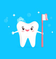happy cartoon tooth with brush vector image vector image