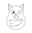 head of hysterical pig in outline style kawaii vector image vector image