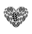 heart with leaves vector image