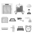 hotel and equipment monochrome icons in set vector image vector image