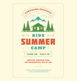 kids summer camp poster or flyer event retro vector image