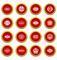 labels icon red circle set vector image vector image