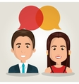 man woman talking bubble dialogue isolated vector image vector image