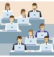 Men and women working in a call center vector image vector image