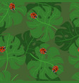 monstera leaves seamless pattern with ladybugs vector image vector image