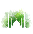 muslim mosque with watercolor splashes e vector image