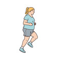 overweight woman runs marathon or competition vector image