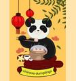 panda eats chinese dumplings banner vector image vector image