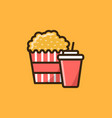 pop corn box and soft drink icon vector image