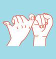 promise hands flat design orange line vector image vector image
