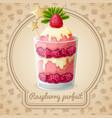 Raspberry parfait emblem vector image vector image