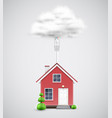 realistic house connected to the cloud vector image vector image