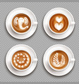 realistic latte art top view vector image vector image