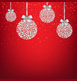 red xmas postcard with balls vector image