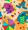Seamless pattern of gumboots and umbrellas vector image vector image