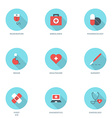 Set of Flat Design Medicine Icons With Long Shadow vector image