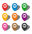 set of nine colorful map pointers with mail icon vector image
