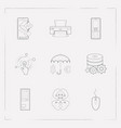 set of tech icons line style symbols with vector image