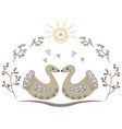 two cute swans are standing nearby vector image vector image