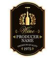 wine label with bottle of wine in laurel wreath vector image