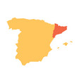 yellow silhouette map of spain with red vector image vector image