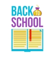 Back to school poster with open book vector image