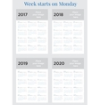 2017 Calendar planner Week starts on Monday vector image