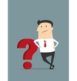 Cartoon flat businessman with red question mark vector image