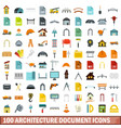 100 architecture document icons set flat style vector image vector image
