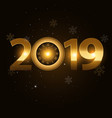 2019 happy new year background with gold vector image