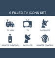 6 tv icons vector image vector image