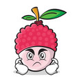 angry face lychee cartoon character style vector image vector image