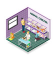 animal shelter isometric composition vector image vector image
