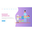 apparatus massage for back of lying woman vector image vector image