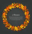 autumnal round frame background with maple autumn vector image vector image