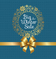 big winter sale poster with gift bow decor frame vector image vector image