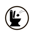 black toilet icon with throwing paper tower flush vector image vector image