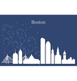 Boston city skyline on blue background vector image