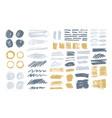 bundle colorful brush strokes paint traces vector image