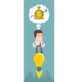 Business man flying on the light bulb vector image vector image
