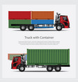 cargo trucks transportation with container vector image vector image