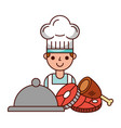chef cartoon meal meat chicken and fish vector image