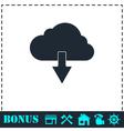 Cloud download icon flat vector image vector image