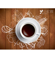 Coffee cup with colored doodles vector image vector image