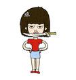comic cartoon woman with knife between teeth vector image vector image